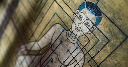 Thai mural painting on a temple wall at Wat Pho Thai Traditional Medical and Massage School in Bangkok, Thailand, Asia